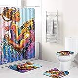 EVERMARKET Creative Colorful Printing Toilet Pad Cover Bath Mat Shower Curtain Set for Bathroom Decor,4 Pcs Set - 1 Shower Cu