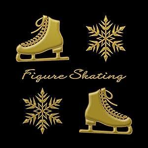 蒔絵シール フィギュアスケート 「スケート靴と結晶 金」