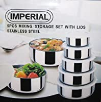 Imperial 5 Pieces Stainless Steel Mixing/Storage Bowl Set with Lids. Assorted Sizes