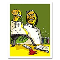 Painting Cartoon Mad Scientist Chemistry Experiment Weird Art Print Framed Poster Wall Decor 12X16 Inch ペインティング漫画奇妙なポスター壁デコ