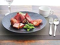 K'sキッチン 「盛れる器」 METEOR 27cm ディナー皿 【 黒い食器 黒マット 丸 プレート 美濃焼 大皿 石風 陶磁器 スレートボード 】