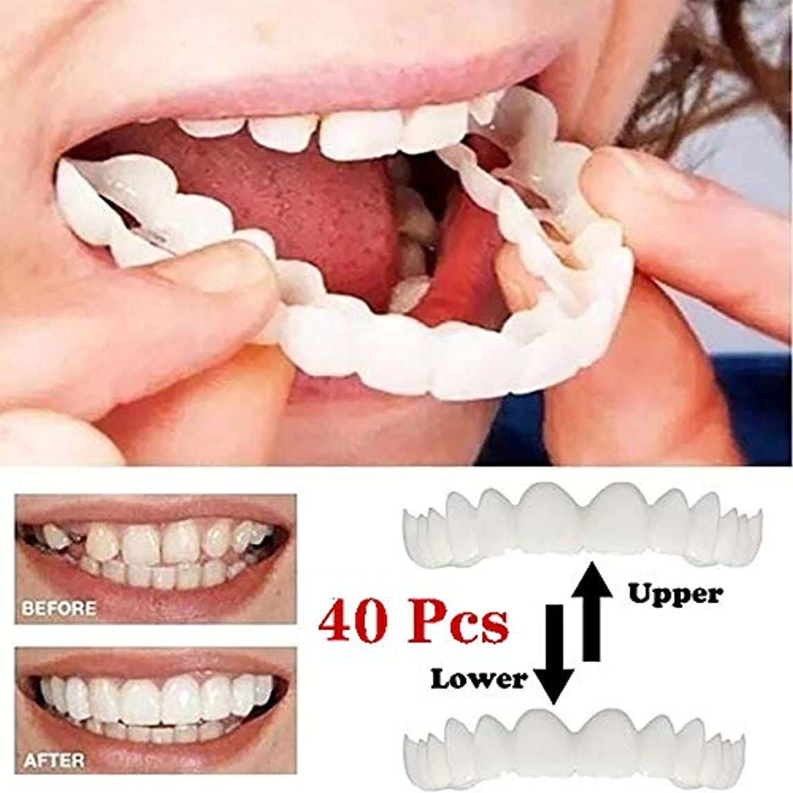 泳ぐ不確実どきどき20セット化粧板の歯、化粧品の歯 - 一時的な笑顔の快適さフィットフレックス化粧品の歯、ワンサイズはほとんどフィット - 歯突き板(下+上)