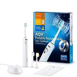 電動歯ブラシ、AQV 知能型モデル音波ブラシ イオン用極細毛タイプ 音波振動 3つモード搭載 IPX7防水レベル 自動記憶機能 マルチアクションブラシ 満充電6週間を使用 電動歯ブラシ用替えブラシ付き(ホワイト)