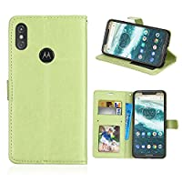Moto P30 note ウォレット ケース PU レザー,Hllycr マネーポーチ,Stand Feature, Motorola Moto P30 note with Credit Card Holder PU レザー ケース Cover -97,Green
