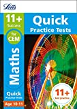 11+ Maths Quick Practice Tests Age 10-11 for the CEM Assessment tests (Letts 11+ Success) (English Edition) 画像