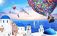 Bzbhart テレビの背景装飾画、壁用ステッカー現代の3D壁紙地中海エーゲ海の熱気球写真の壁紙3Dレストランの研究キッチンテレビの背景現代-350cmx245cm