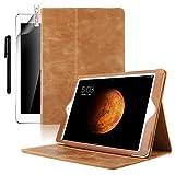 Boriyuan iPad Air 2 (iPad 6)ケース iPad Air 2本革カバー スマートカバー カードポケット 横開き スタンド機能 オートスリープ 保護フィルム+タッチペン付き 全3色 (ブラウン)