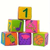 e-scenery 6 in 1セット新しい幼児ベビー布ソフトRattleおもちゃ、建物ブロック教育玩具赤ちゃんおもちゃソフトブロックセットキューブ布