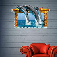 JIANGNIUS ウォールステッカー家の装飾 3Dイルカリムーバブル壁アートステッカー、サイズ:95 x 58 x 0.3 cm