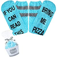 If You Can Read This Novelty Funny Fuzzy Cozy Slipper Cupcake Socks for Men Women, Gift for Wine Beer Taco Pizza Lover