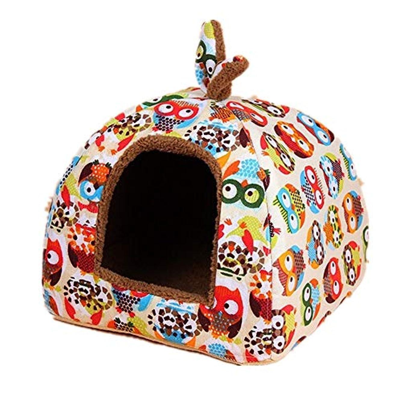 ロードハウス胚芽おびえたキャットハウス デザインソフトペットHouseNonスリップ洗える自己発熱ペットハウスベッドを印刷 暖かい休憩所 (Color : B, Size : M)