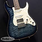 Drop Top Classic Personalized Flame Maple Top (Arctic Blue Burst with Binding) #01-19-19A