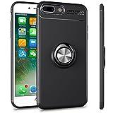 ALEVE iPhone8 Plus / iPhone7Plus ケース 薄型 軽量 耐衝撃 アイフォン8 / 7 プラス ケース リング付き 車載ホルダー対応 携帯ケース (iPhone8 Plus/7 Plus, ブラック+ブラック)