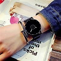 WangyueShop 韓国 exo 同じ時計 ファッション シンプル 腕時計 ターンテーブルベルト レディース カップル 腕時計 BK
