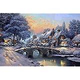 SUNYU® 1000ピース冬の水ブリッジ油絵風景木製ジグソーパズルおもちゃ大人のパズルロマンチッククリスマスプレゼント
