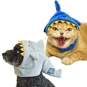 犬 かぶりもの iDog&iCat オリジナル 犬 服 変身かぶりものスヌード 凶暴なサメ ブルー S