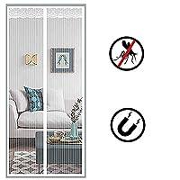 ガラス戸をスライドさせるための磁気スクリーンのドア、ガラス戸をスライドさせるためのはえのカの虫の昆虫スクリーンフレンチドアパティオドア、ペット可、ハンズフリー (Color : 白, Size : 35×79inch)