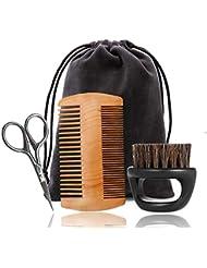 Onior 4ピースひげグルーミングキットひげトリミングボードブラシ髪くしはさみ形シェーピングと成長旅行バッグシェーピングツール完璧なシェービング対称パーソナルケア耐久性と実用的