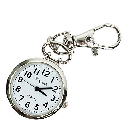 MAJESTIC キーホルダー 時計 ナースウォッチ 懐中時計 フック 見やすい シンプル 大きい文字盤 ポケットウォッチ