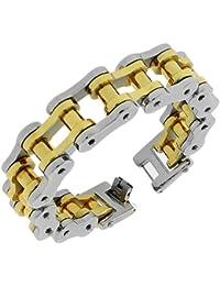 Stainless Steel Two-Tone Link Bike Chain Large Heavy Men's Bracelet