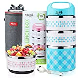 Stackable Lunch Box, JOYXEON Portable Stainless Steel 304 Bento Lunch Box with Thermos 3-Tier Insulated Food Container 43oz, BPA free, with 600D Oxford washable Lunch Bag & foldable 2-in-1 Spoon Blue