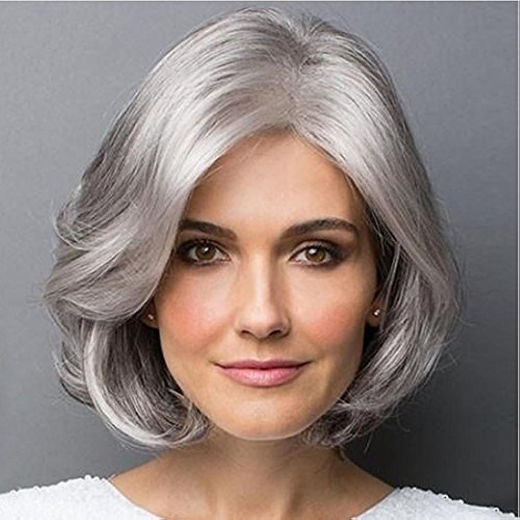 一過性擬人化曲がったYOUQIU 斜め前髪マイクロボリュームかつら耐熱ファイバー20センチメートル/ 30センチメートル(シルバーグレー、グラデーションシルバーグレー)かつらと女性のショートヘアのための合成カーリーヘアウィッグ (色 : Silver...
