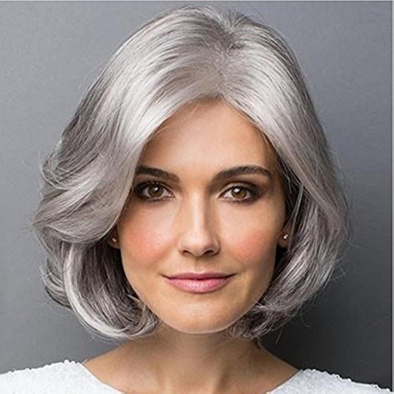 フラップ居間流すYOUQIU 斜め前髪マイクロボリュームかつら耐熱ファイバー20センチメートル/ 30センチメートル(シルバーグレー、グラデーションシルバーグレー)かつらと女性のショートヘアのための合成カーリーヘアウィッグ (色 : Silver...