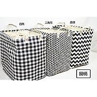 北欧風黒白コットンリネン衣服収納ケース整理箱 収納箱 収納ケース (M, 曲線)