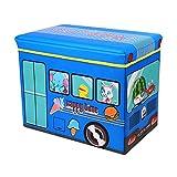 Sasuga 座れる ストレージ ボックス [ 動物園バス ] 折りたためる 収納ボックス スツール ふた付き おもちゃ箱 トイボックス (ブルー)