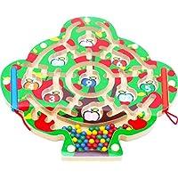 おもちゃの木製オックスフォード木製磁気LabyrinthフルーツツリーCountingゲーム – 磁気Labyrinth Maze 3年間の古い