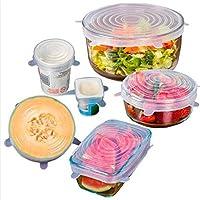 6pcs /セットlid-bowlパンシリコンカバーユニバーサルCooking Pot lid-siliconストレッチシリコンサクション蓋キッチンパン流出ふたストッパーカバーセットの6