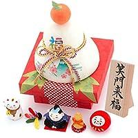 (ファンファン) FUN fun 正月飾り 迎春飾り ちぎり和紙 彩 五福鏡餅 笑門来福 間口12*奥行12*高さ16(約cm) 日本製