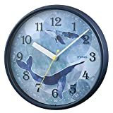 MAG(マグ) 掛け時計 アナログ アトリエット くじら 直径約25.2cm 連続秒針 ネイビー W-753NB-Z