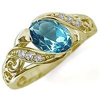 プレジュール ブルートパーズ 唐草リング K10イエローゴールド オーバル 爪なし リング 指輪 リングサイズ15号