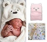 B's MAUMU 肌触り 抜群!! 赤ちゃん おくるみ ベビー フード 付き ブランケット & ガーゼ 3枚 セット 出産祝い (ホワイト)
