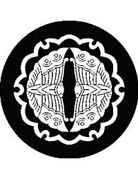 家紋シール 雪輪に向かい蝶紋 布タイプ 直径40mm 6枚セット NS4-2082