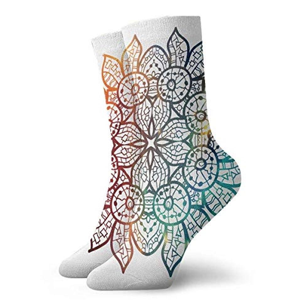 定義連続的ライフルQrriy女性マンダラ花ソフトクリスマス膝高ストッキング靴下、クリスマス楽しいカラフルなドレスソックス