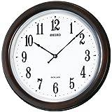 SEIKO CLOCK (セイコークロック) 掛け時計 SOLAR+(ソーラープラス) 電波 アナログ 薄型 木枠 濃茶木地 SF504B