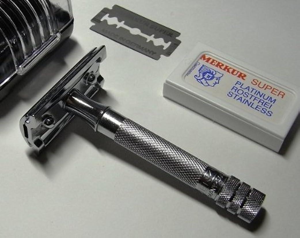 運河フォーマット競争力のあるメルクールMERKUR(独)髭剃り(ひげそり)両刃ホルダー333C (替刃10+1枚付?プラケース入)