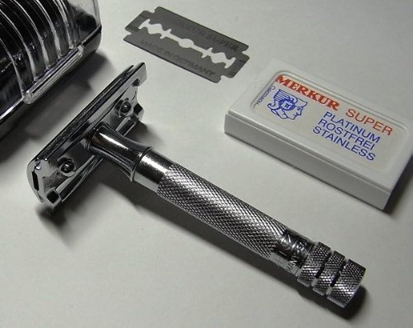 空気最高立証するメルクールMERKUR(独)髭剃り(ひげそり)両刃ホルダー333C (替刃10+1枚付?プラケース入)