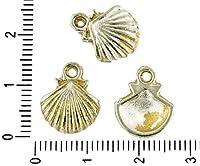 10本入)(鉄道模型チェコマット金色つやアンティークシルバー調の貝殻の海洋動物の海シェルの魅力のペンダントボヘミアンの金属結果13mm×29mm
