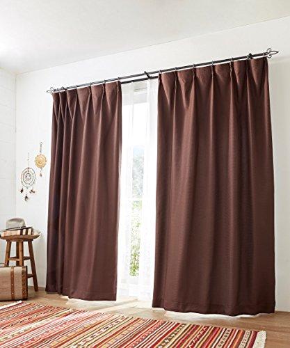 [nissen(ニッセン)] カーテン レースカーテン 4枚セット 遮光裏地付 ワッフル ブラウン 幅100×長さ185(183) cm