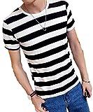 (ボナスティモーロ) Buona stimolo メンズ Tシャツ 半袖 マリン ボーダー 柄 クールネック 丸首 カットソー (03:ブラック L)
