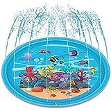 噴水マット プール噴水 水遊び プレイマット 子どもおもちゃ PVC プール子供用 トイ キッズ 親子遊び プールマット 夏対策 庭の中に遊び 家族用 芝生遊び プレゼント アウトドア 170CM