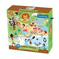 """Mudpuppy Jumbo At the Zoo Puzzle for Ages 2 & Up ? 25 Piece Puzzle Featuring Fun Zoo Animals Illustrations 22"""" Square [Floral] [並行輸入品]"""