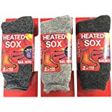 3 Pairs Men Heated Sox Thermal Insulated Winter Heavy Duty Thick Crew Socks Fur Lined