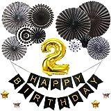 2歳バースデー デコレーションバルーンセット ブラック 誕生日 豪華 飾り付け 数字風船 ペーパーファン ガーランド お祝い パーティー