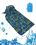 LiDiwee クールタオル 速乾タオル 冷却 超吸水 首冷やす 熱中症対策 100×30cm 2色 収納ケース付き 3層生地構造 無添加 (クールブル)