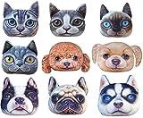 HIROANO 大きい リアル かわいい ふっくら 犬顔 猫顔 犬 猫 クッション ぬいぐるみ 抱き枕 ハンドタオル付きモデル (ロシアンブルー)