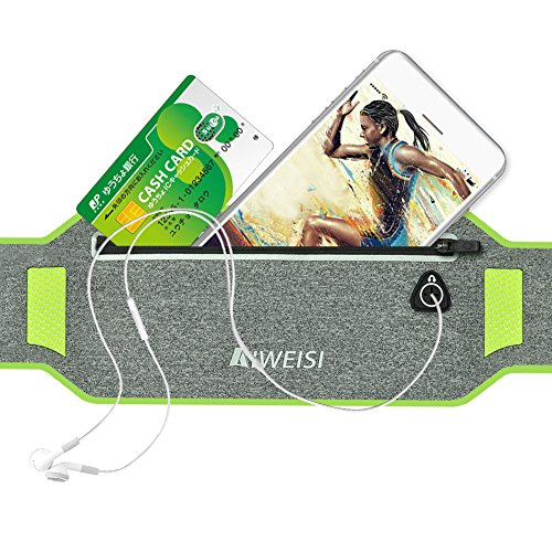 AIWEISI (アィーウェース) ランナーポーチ ウェストバック 超薄い 防汗 蛍光 ウエストバッグ ランニングポーチ 収納可能 夜間反射材料 ベルト調節可能 二つポケットがあり iPhone6/7/7plus/Sony/Fujitsu /京セラのスマホに対応でき   (灰色)